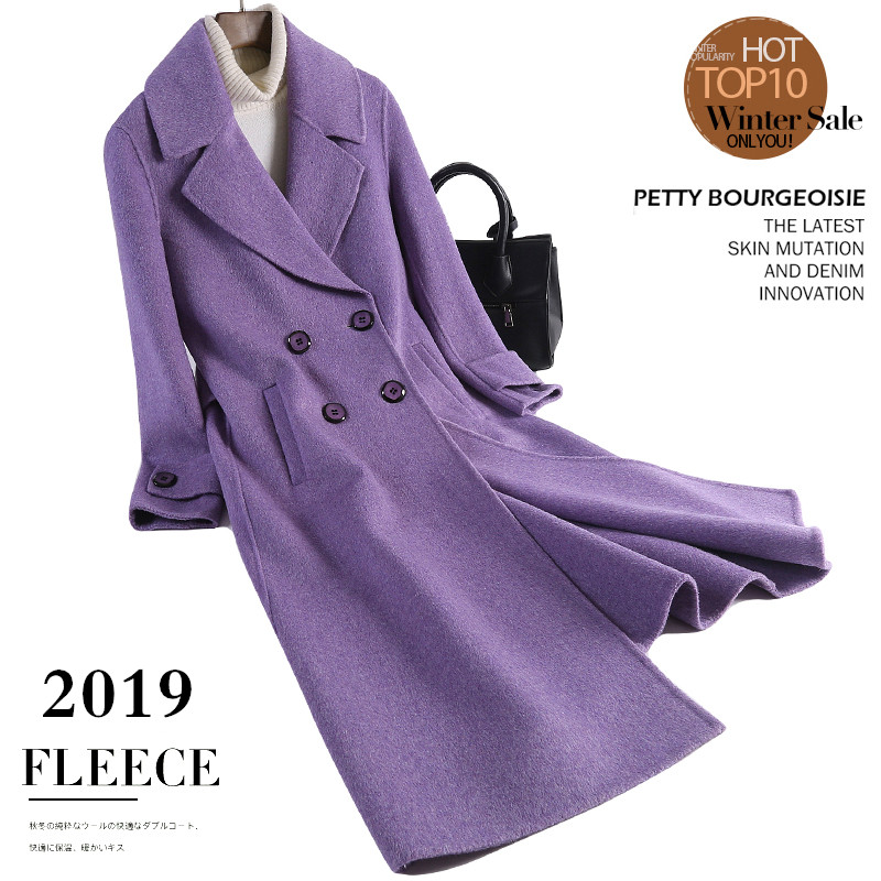 New double faced cashmere coat womens Hepburn albaca purple medium length slim flannel woolen coat