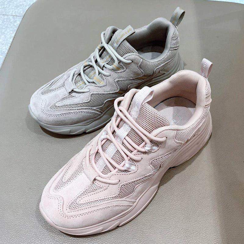 2019款秋季热风H42W9307脏脏老爹鞋网红粉色老爹鞋女休闲运动网面