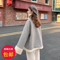夏大大宽松毛呢外套大码胖妹妹秋冬新款2019洋气显瘦羊羔毛外套