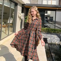 夏大大胖mm大码格纹连衣裙女中长款2019新款冬装气质减龄女装裙子