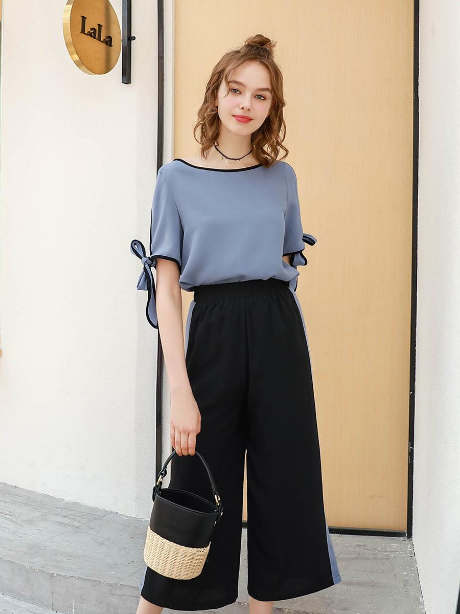夏大大大码女装夏季2018新款腰粗遮肚子女套装雪纺衫休闲裤两件套