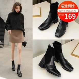 黑色短靴女春秋單靴增高粗跟2020新款彈力瘦瘦英倫風短筒切爾西靴