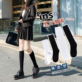 黑色小腿袜女jk潮ins高筒薄款袜子中筒夏长袜半筒过膝白色长筒袜