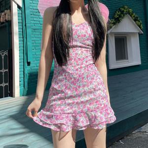 h家欧美女装法式田园风俏皮粉色碎花吊带裙ins交叉露背绑带连衣裙