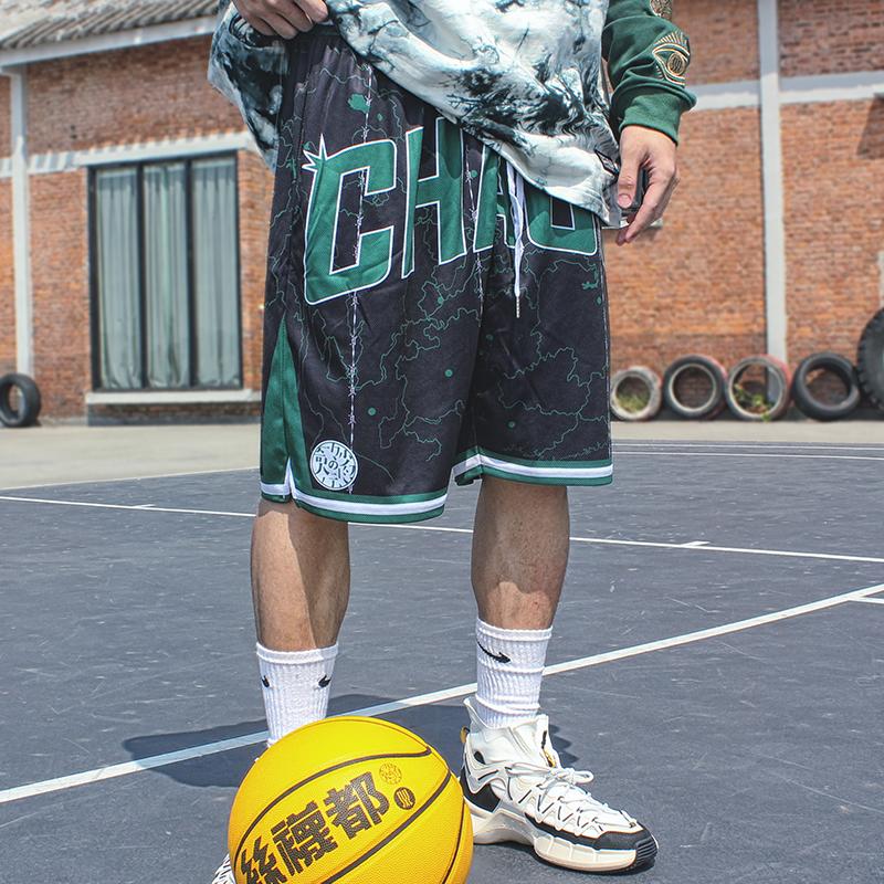 Swadx2le original national fashion jacquard casual shorts loose street basketball pants embroidered hip hop men and women drawstring summer