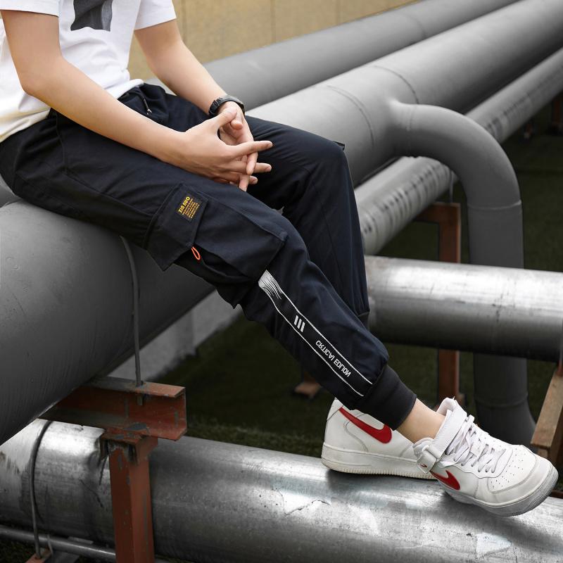新款工装裤 织带装饰多口袋松紧束脚长裤 舒适全棉A127-K203-P50