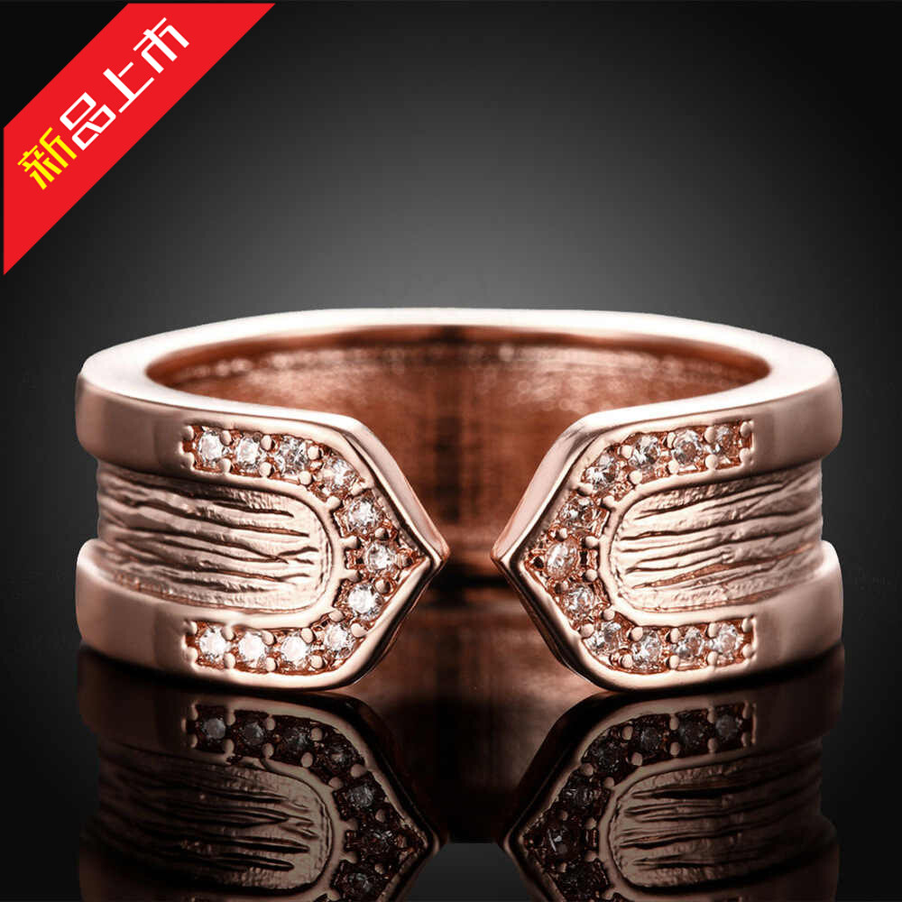 Ring mens and womens Valentines Day gift fashion personality minority design couple manufacturer direct sales creative zircon micro inlaid hand