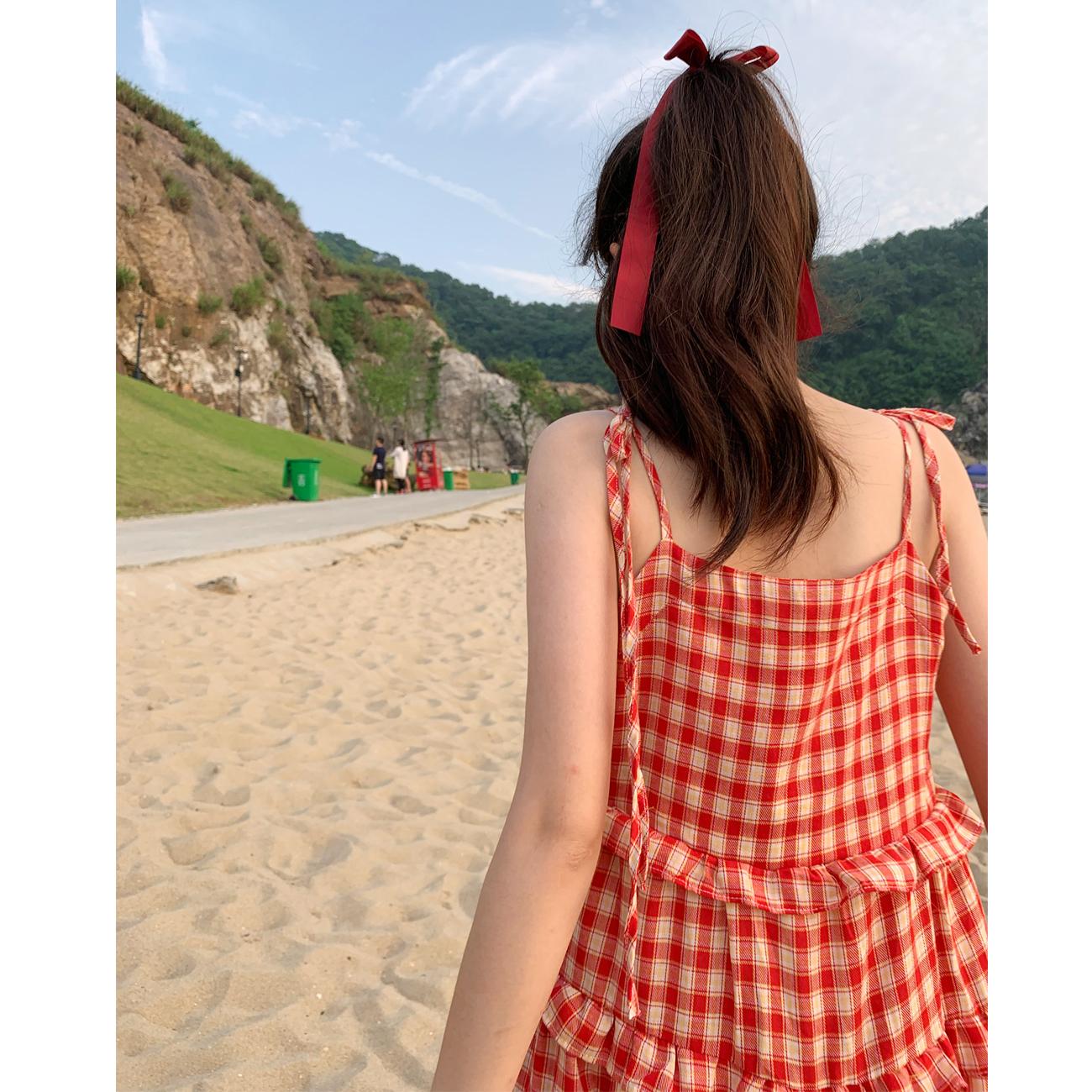 六角与淡菜 猫少女祈祷 绑带格子单排纽扣宽松蛋糕度假连衣裙