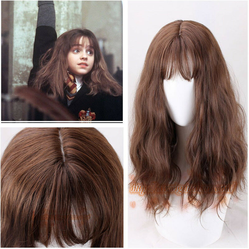 Buy movie Harry Potter Hermione Jane Granger brown long curly hair role play wig + wig cap