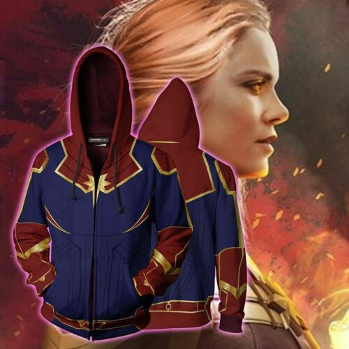 Buy superhero cos Marvel Captain Marvel Hooded Sweatshirt Carol Danvers jacket