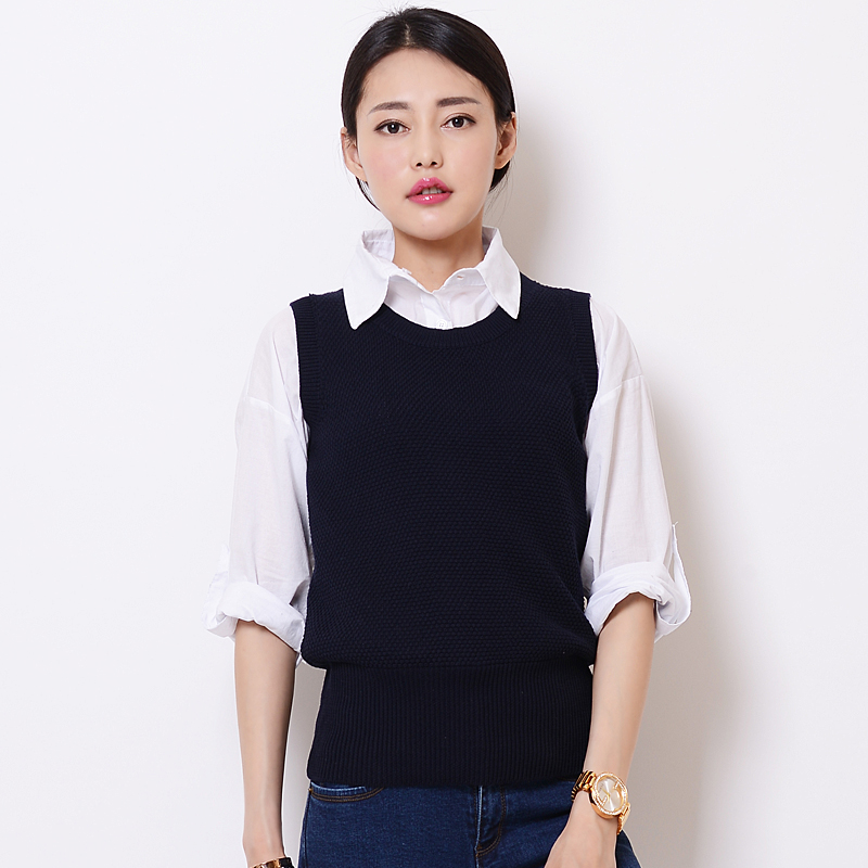 Knitted waistcoat womens Vest Korean ol crew neck slim Pullover short autumn and winter sleeveless sweater vest