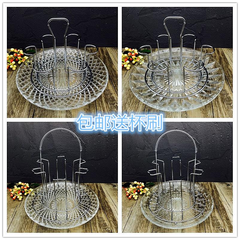 杯架不锈钢水杯挂架玻璃杯奶瓶沥水倒挂置物架茶杯架套装带沥水盘