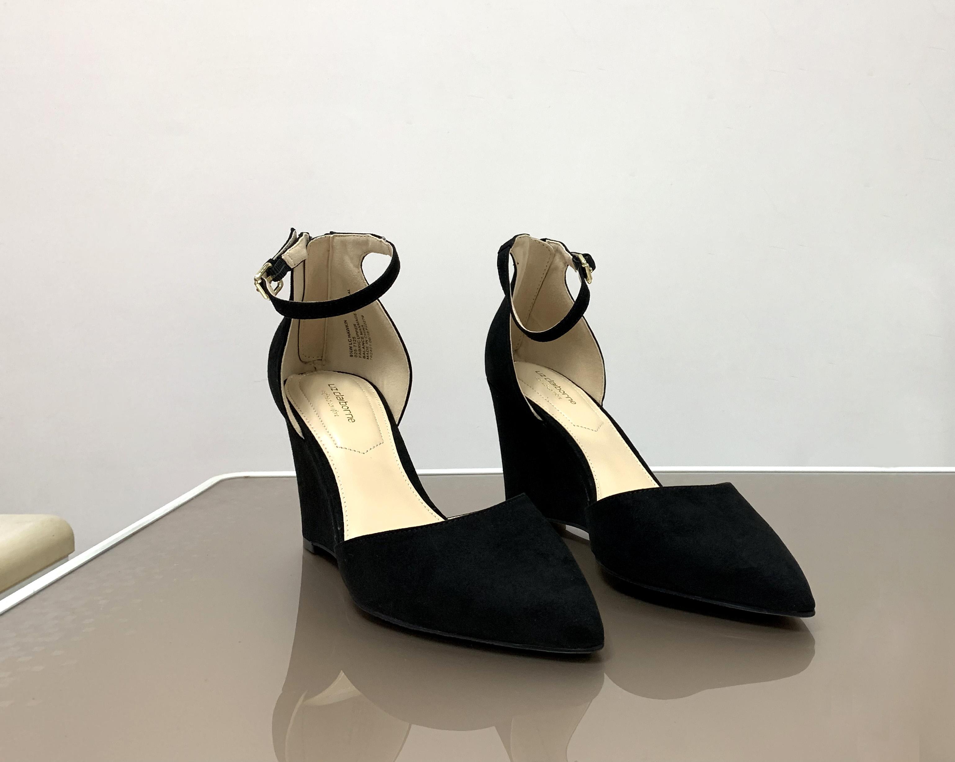 新款夏坡跟高跟淑女舒适日常休闲街头宴会脚踝扣带凉鞋女鞋单鞋