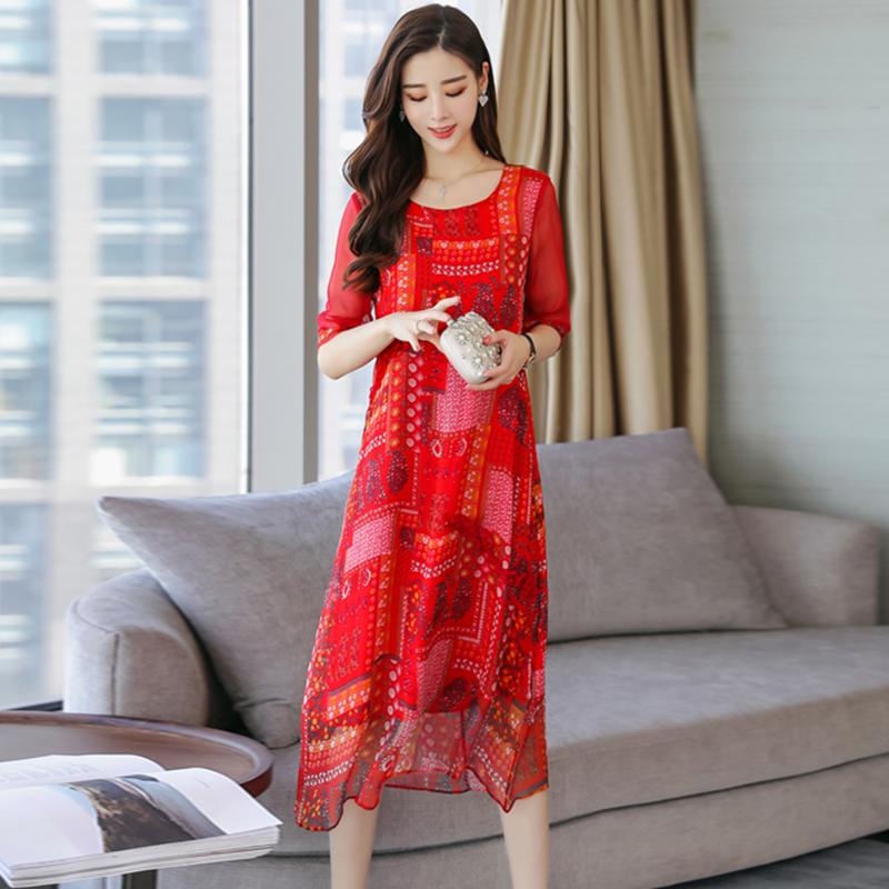 日式中袖简约高雅25岁妈妈春装女装潮流红色印花长款真丝连衣裙