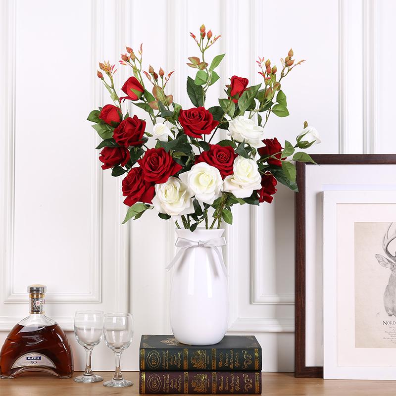 仿真玫瑰花假花单只花束客厅卧室装饰永生花摆放落地塑料绢花