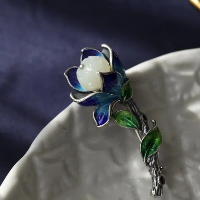 Cloisonne lotus plated S925 silver jewelry Thai handmade female white jade retro temperament national antique Brooch