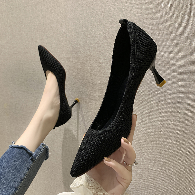 Low heeled high heeled shoes womens fashion flying woven upper shallow mouth pointed single shoes 2020 spring middle heel thin heel work shoes womens shoes