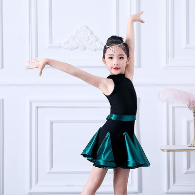 儿童拉丁舞服装夏天女童练功服专业比赛考级拉丁舞蹈裙大童表演服