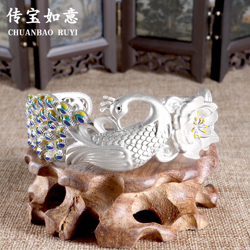 传宝银楼景泰蓝纯银手镯女孔雀银丝镂空足银手环民族风银饰品首饰