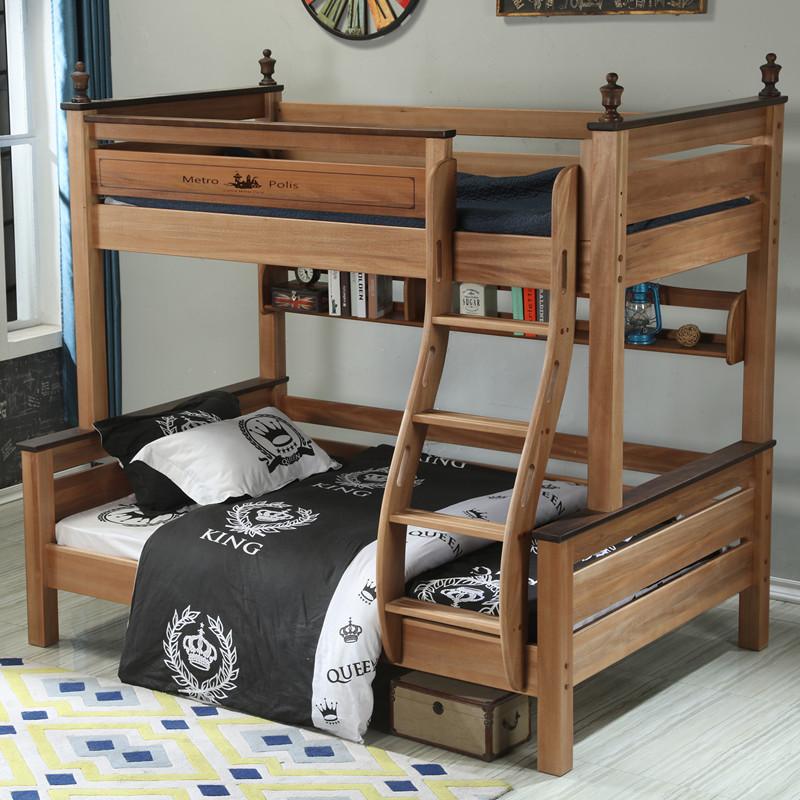 木蜡油胡桃木上下床铺儿童床美式双层床全实木子母床高低床红檀木