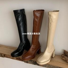 zmmr韩国女鞋2020秋冬新款粗跟防水台侧拉链骑士靴不过膝瘦瘦靴潮