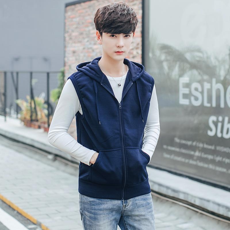 Thin vest mens Hooded Vest Korean sports shoulder mens sleeveless jacket knitted cardigan trend simple mens wear