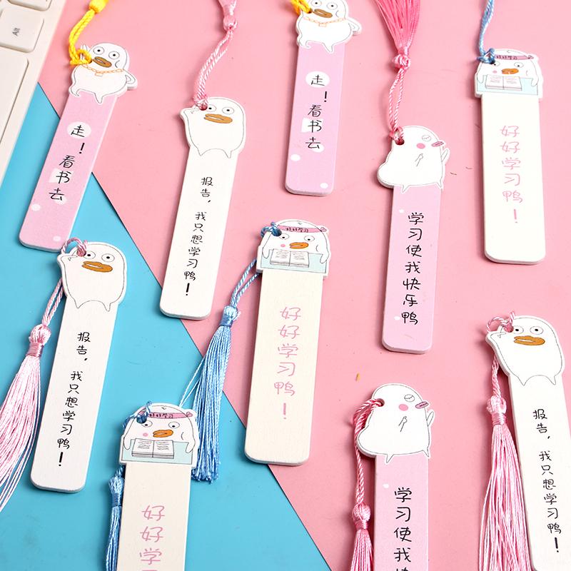 少女心个性创意流苏尺子多功能木制书页签夹可爱卡通木质书签直尺