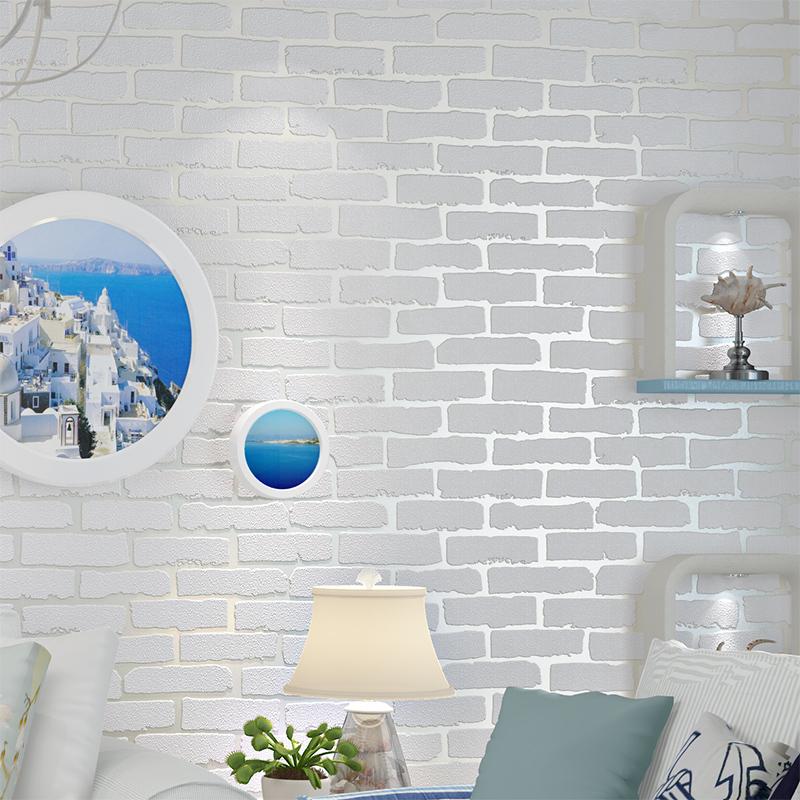 3d立体白色砖纹砖块砖头墙纸服装店文化砖卧室客厅背景墙壁纸白砖