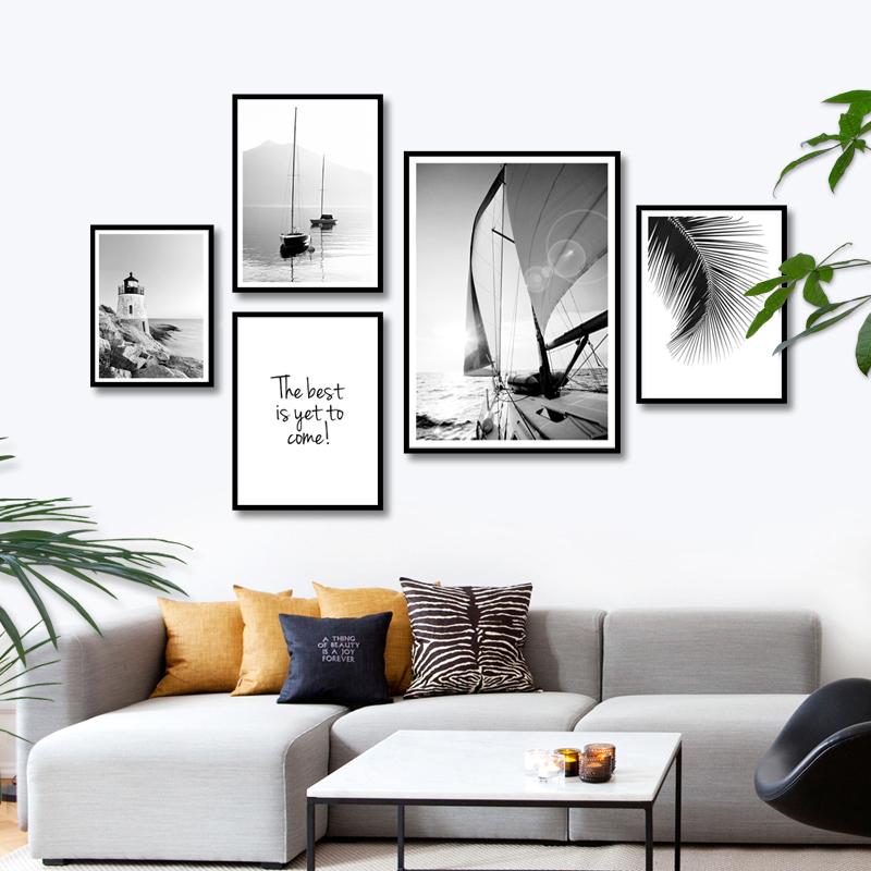 简约现代北欧黑白帆船客厅装饰画