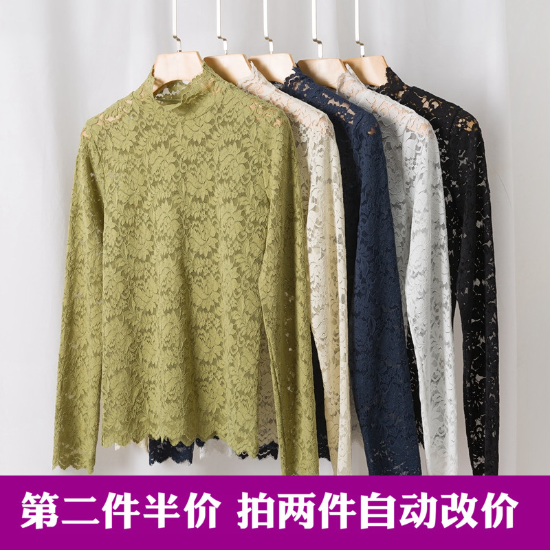 Autumn and winter 2020 new lace bottomed blouse with high collar and fashionable small blouse and long sleeve top