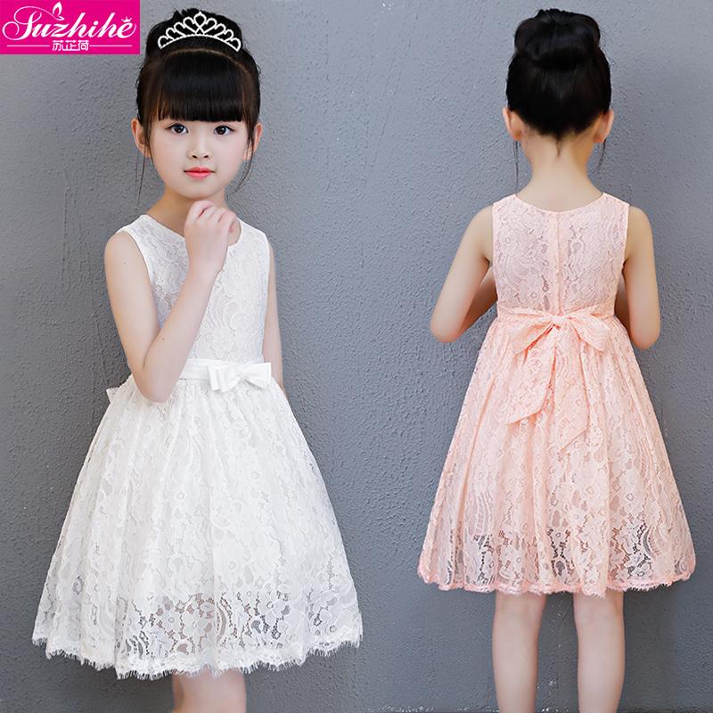 女童白蕾丝连衣裙儿童女宝宝洋气夏装春夏季小童装公主裙子纯棉绸