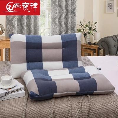 夜律 日式简约风格全棉可水洗棉格纹舒适枕芯纯棉护颈枕头48*74cm