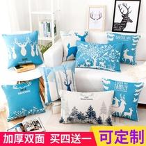 简约现代蓝色麋鹿抱枕北欧靠垫套大号美式腰枕长方形沙发靠枕客厅