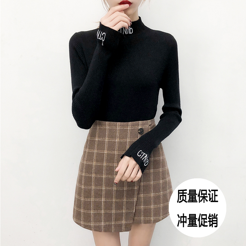 Autumn and winter new letter tight black fashion half high neck thickening versatile bottomed sweater short sweater for women