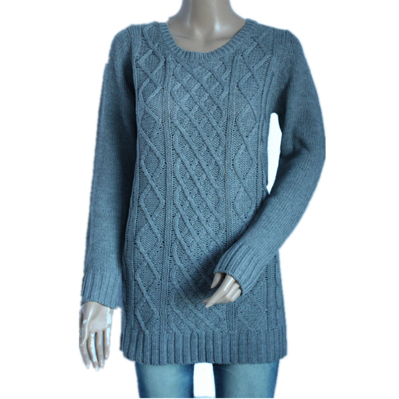Sweater foreign trade women round neck diamond pattern loose sleeve hollow knitting sleeve knitting medium long new shipment package
