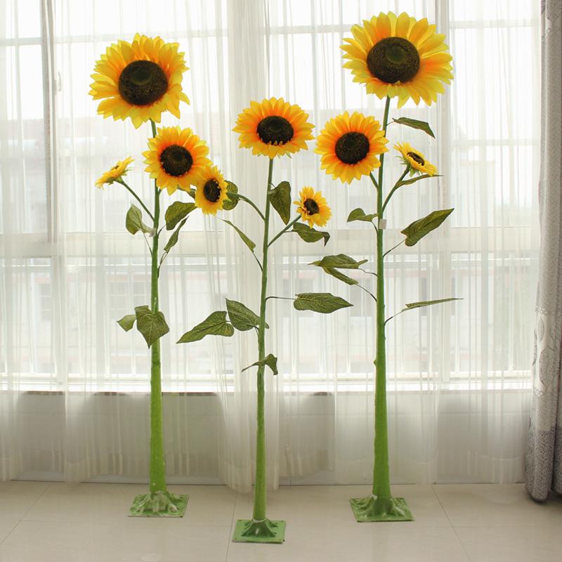 向日葵仿真花假花�沃�落地大花束�b�花�[件商�鼍频昊�c太�花