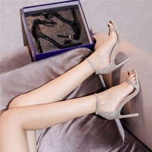 Net red one word sandals for women spring and summer 2019 new sexy versatile fairy buckle small fresh high heels with thin heels