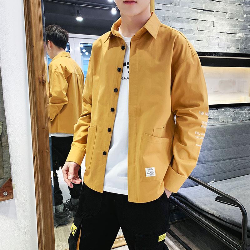X新款纯棉男士长袖衬衫亚博开户潮帅气工装夹克潮牌翻领衬衣外套9676