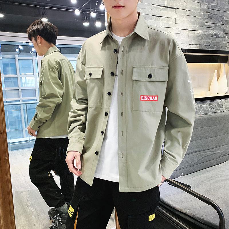 W秋季纯棉男士翻领韩版长袖衬衫修身帅工装夹克男土衬衣外套9677