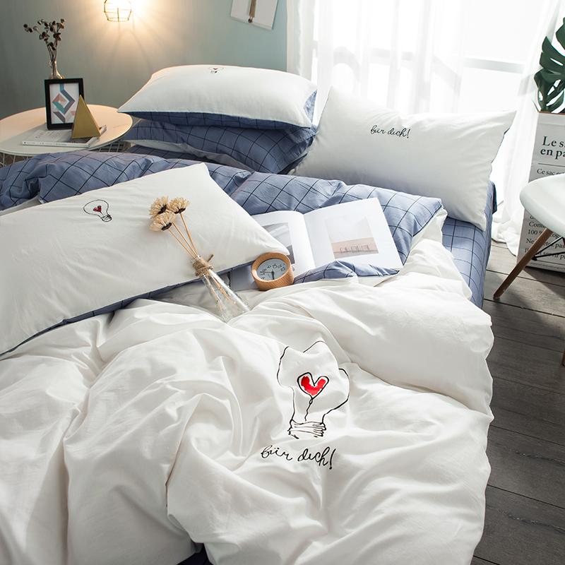 奥博妮水洗纯棉四件套1.5/1.8m全棉床单被套床笠刺绣双人床上用品