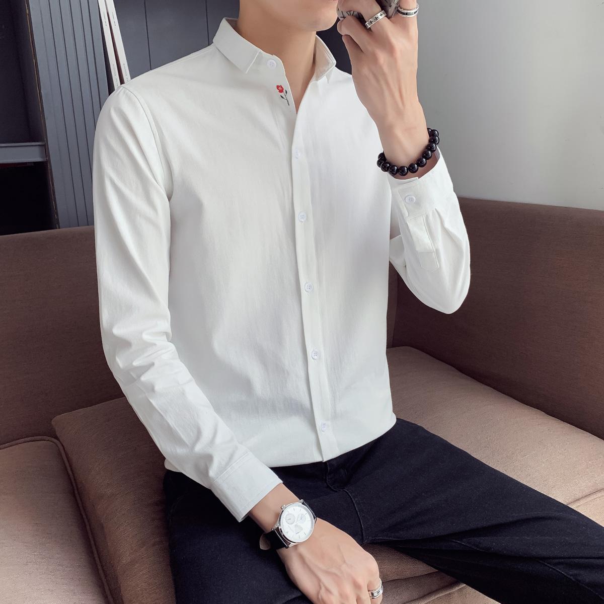 爆款推荐 品质好  长袖衬衫男修身韩版英伦风衬衣 B413-DJ456P45