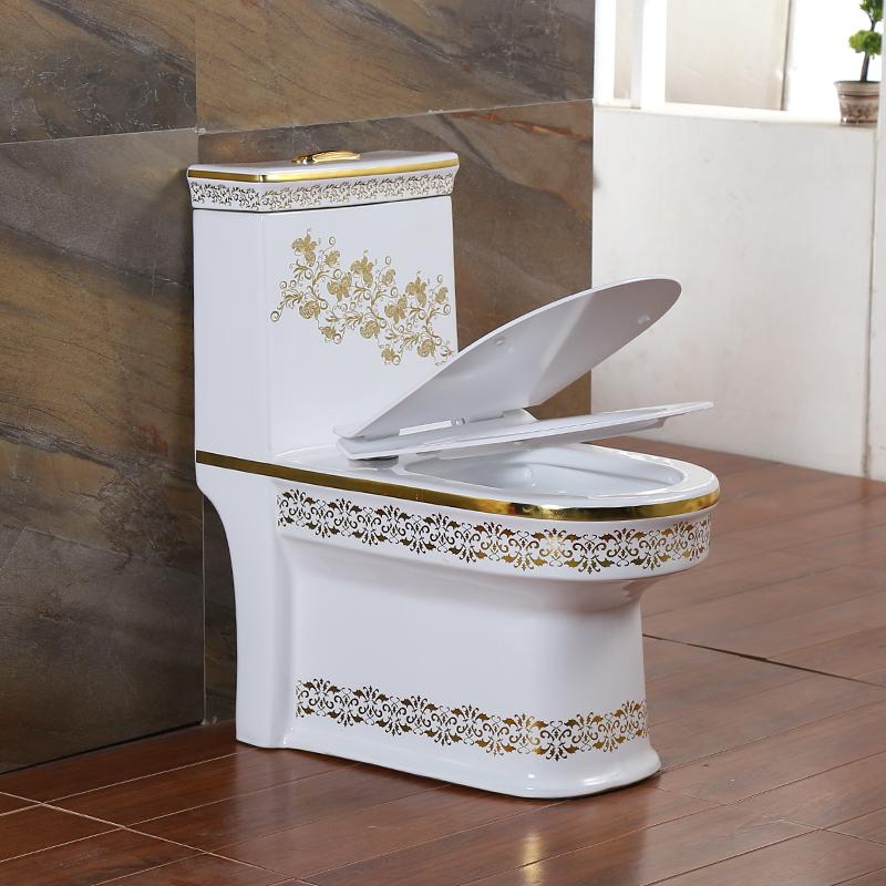雅佰丽欧式家用抽水彩色马桶彩金超漩虹吸防臭静音马桶坐便器洁具