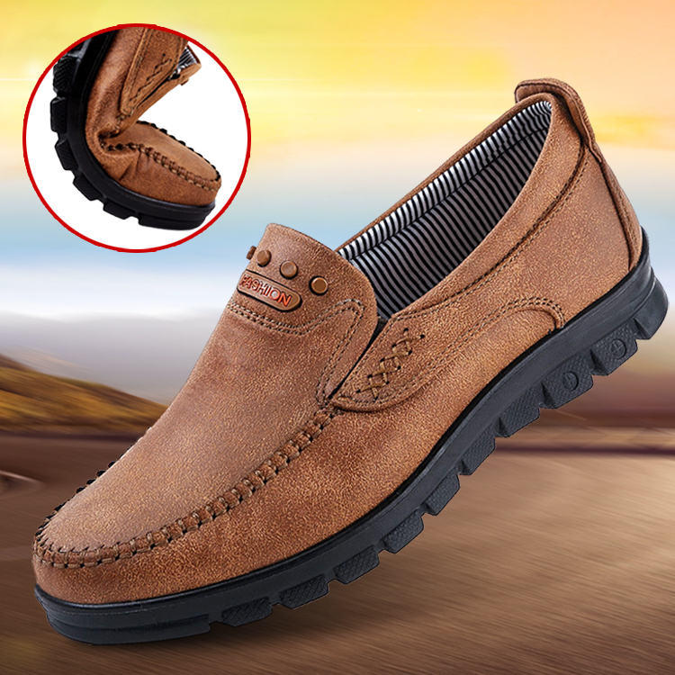 Old Beijing cloth shoes mens spring and autumn middle-aged and elderly leisure fathers middle-aged one foot anti-skid soft soled elderly single shoes