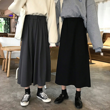 Skirt children spring and autumn 2019 new Korean version of students'high waist mid-long A-shaped skirt autumn and winter black half-length skirt skirt