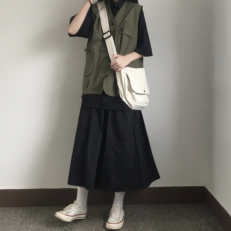 2020年夏装新款休闲工装马甲套装女潮韩版衬衫裙子洋气网红两件套