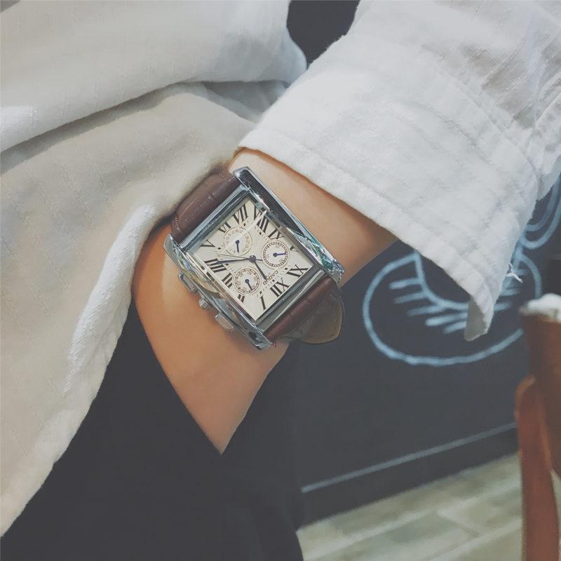 微视抖音快手网红同款手表男潮流复古三眼长方形皮带男学生石英表