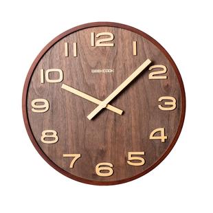 原木時鐘掛牆實木木質鐘錶掛鐘大尺寸胡桃超大新中式大號北歐客廳