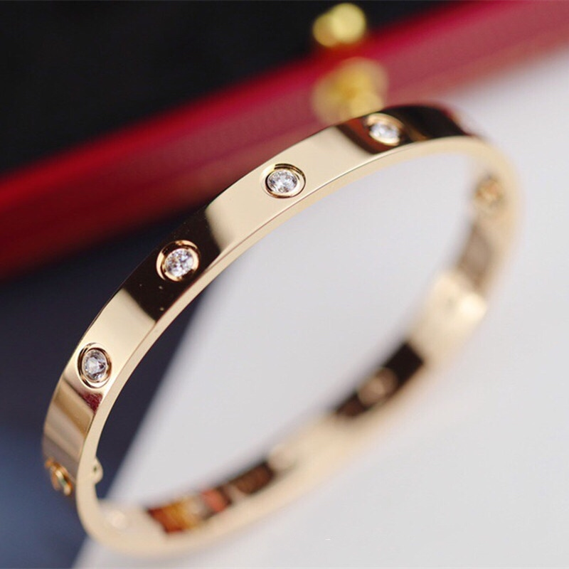 日韩钛钢18K玫瑰金LOVE手镯永恒之环情侣款送女友不掉色饰品新款