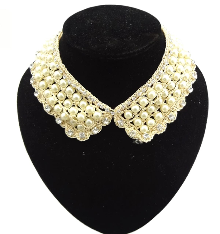 Retro gold resin charming handle pearl lace flower crystal neckline Necklace necklaces snake wide chain flat bottoms