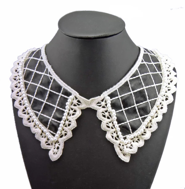 Womens fashion leather pearl lace neckline Necklace metal chain tassel crystal lace wedding party rivet